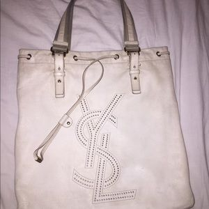 YSL White Studded Soft Leather Tote
